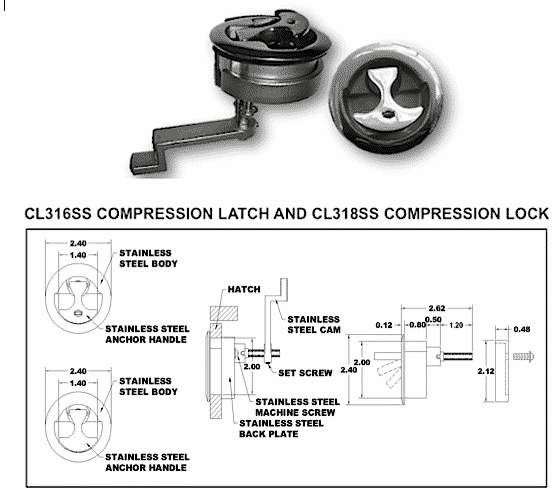 CL316SS 2' boat stainless steel water tight compression latch